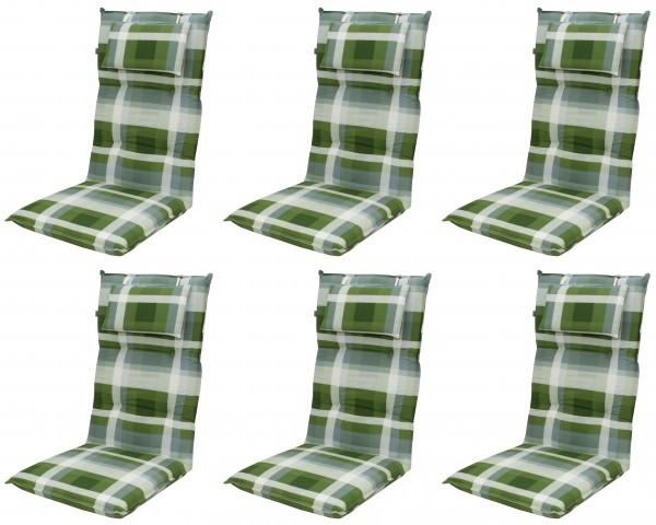 6x 8606 Hochlehner Gartenstuhl Auflagen 8cm Kopfkissen grün
