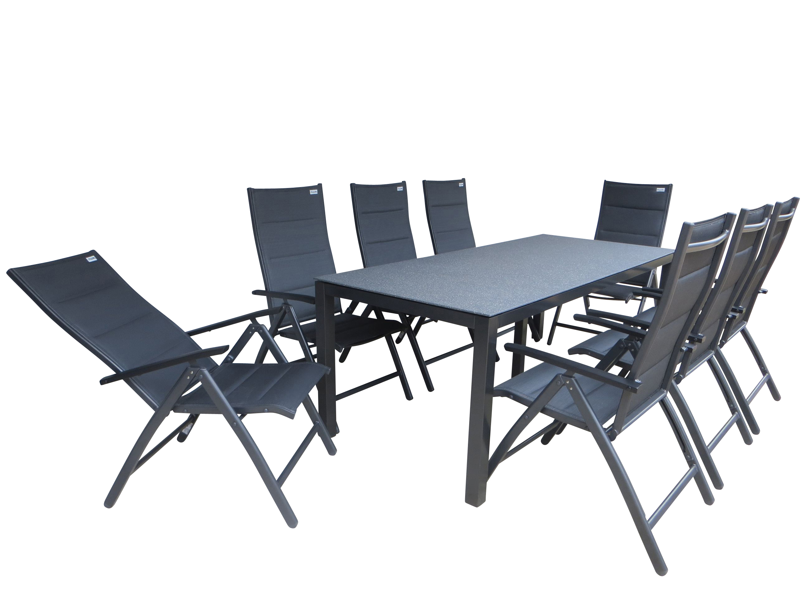 tumbes padded alu gartenm bel set sitzgarnitur 9 tlg anthrazit garten. Black Bedroom Furniture Sets. Home Design Ideas