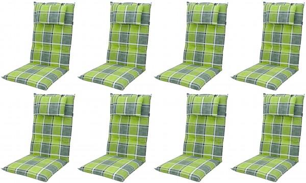 8x 5911 Hochlehner Gartenstuhl Auflagen 8cm Kopfkissen grün