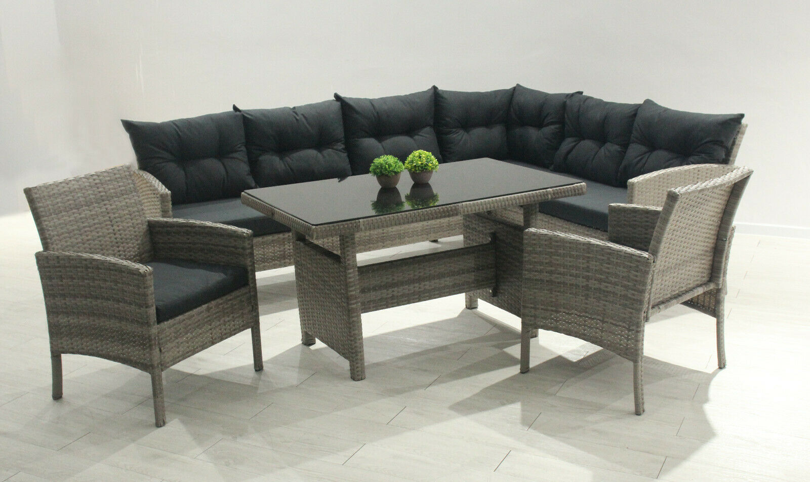 cadiz polyrattan ecklounge gartenm bel sitzgruppe grau. Black Bedroom Furniture Sets. Home Design Ideas