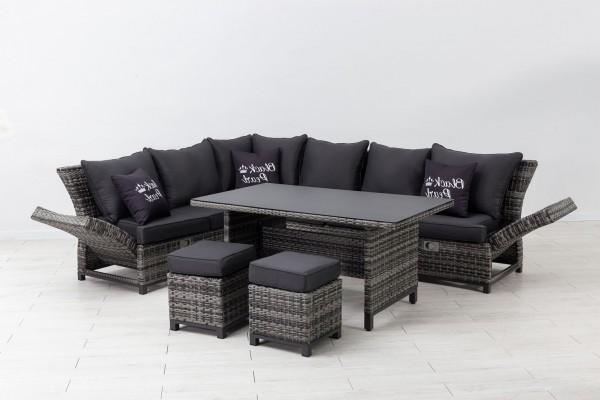 SANTA CRUZ Polyrattan Ecklounge Gartenmöbel Sitzgruppe - Black Pearl