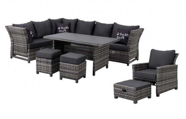 SANTA CRUZ XL Polyrattan Ecklounge Gartenmöbel Sitzgruppe - Black Pearl