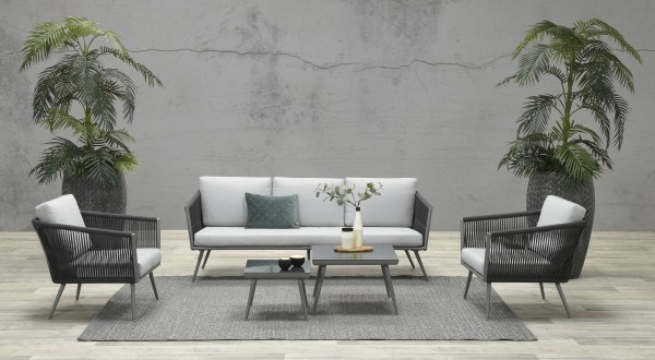 CANBERRA Rope Alu Lounge Set Gartenmöbel Sitzgruppe grau
