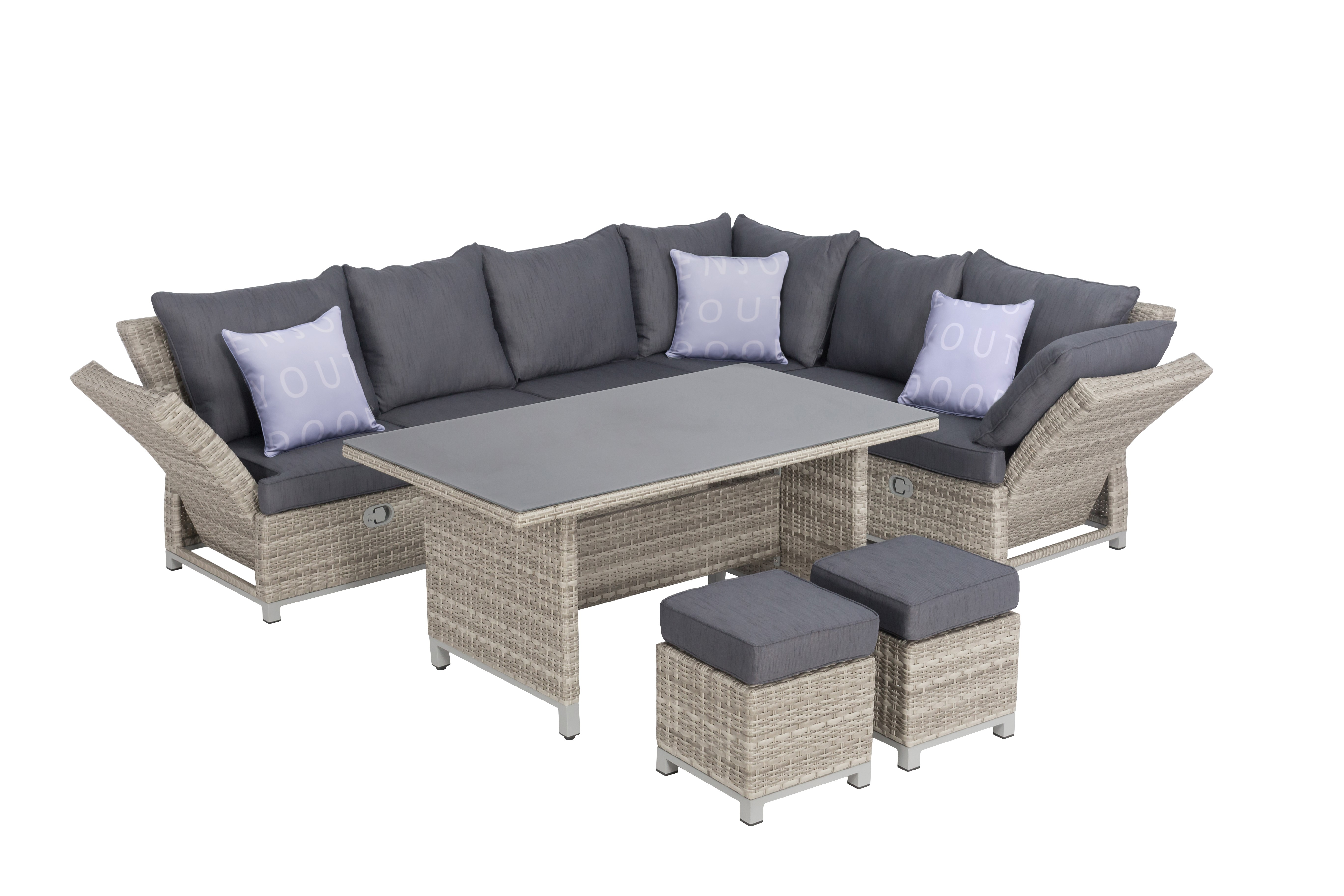 santa cruz polyrattan ecklounge gartenm bel sitzgruppe grau lounge m bel garten. Black Bedroom Furniture Sets. Home Design Ideas