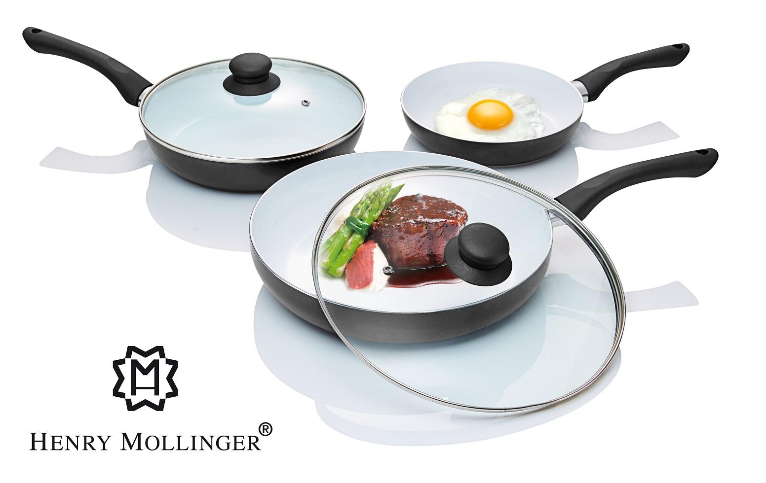 henry mollinger 5 teiliges induktion keramik pfannen set t pfe pfannen k che haushalt. Black Bedroom Furniture Sets. Home Design Ideas