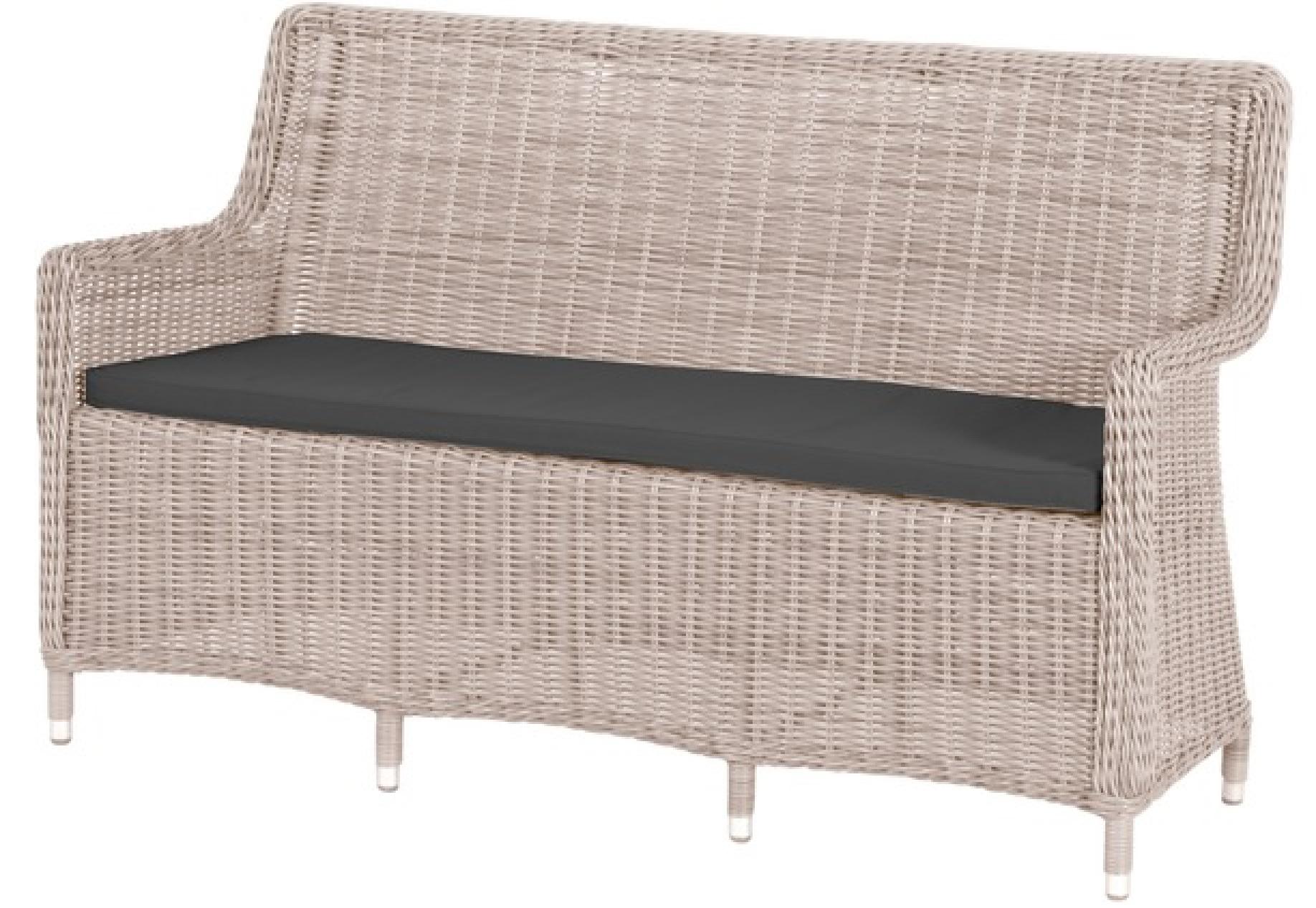 pesaro polyrattan 3er gartenbank 156x96x64cm whitewash. Black Bedroom Furniture Sets. Home Design Ideas