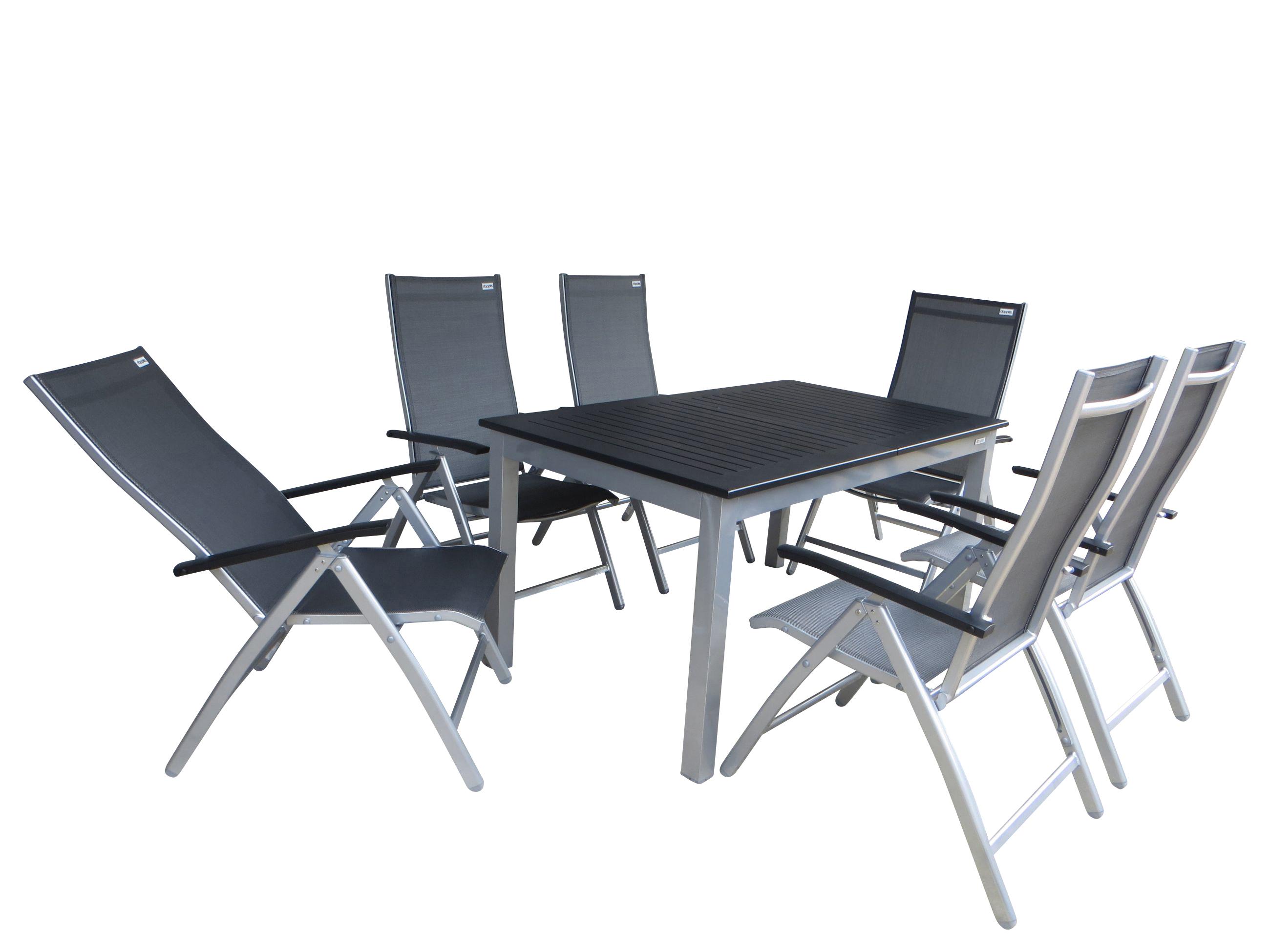 ubud alu gartenm bel set sitzgarnitur 7 teilig silber. Black Bedroom Furniture Sets. Home Design Ideas