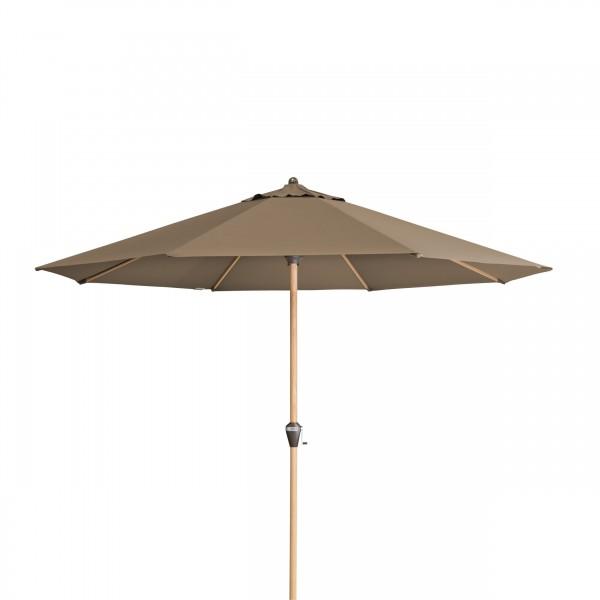 ALU WOOD Sonnenschirm 350cm rund mit Kurbel Holzoptik taupe