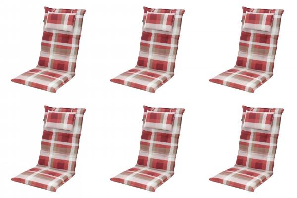 6x 8607 Hochlehner Gartenstuhl Auflagen 8cm Kopfkissen rot