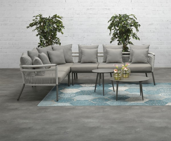CHERRY Rope Alu Ecklounge Gartenmöbel Set Sitzgruppe grau