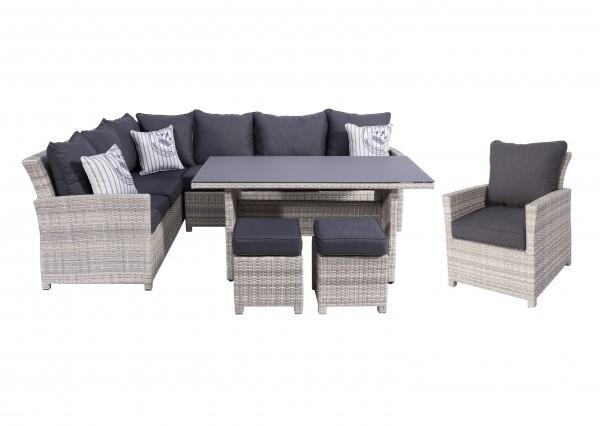 PARLA XL Polyrattan Ecklounge Gartenmöbel Set weiß-grau | Lounge ...