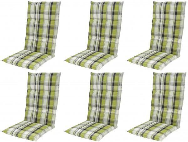 6x 5336 Hochlehner Gartenstuhl Auflagen 120x50x7cm grün Karo