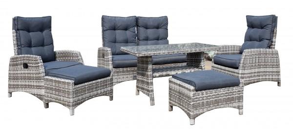 SKARA Polyrattan Lounge Gartenmöbel Sitzgruppe - braun-grau