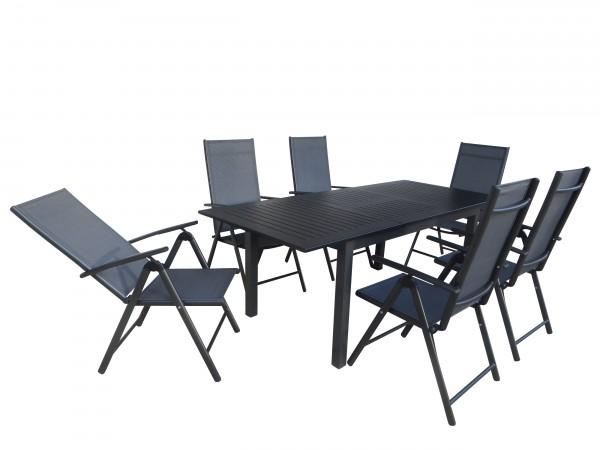 LOVINA Alu Gartenmöbel Set Sitzgarnitur, 7-tlg, anthrazit