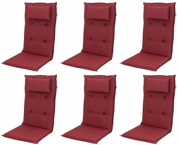 6x 8833 Hochlehner Gartenstuhl Auflagen 8cm Kopfkissen rot