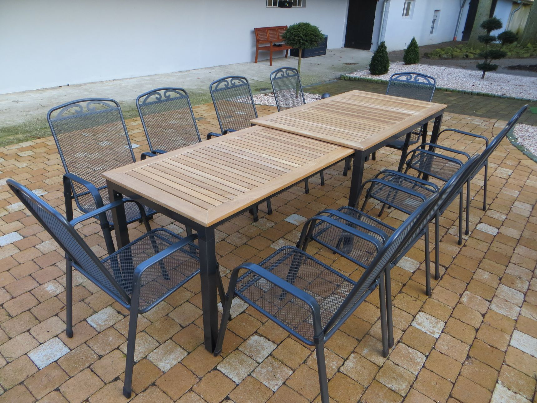 Tifosi teak gartenm bel set 11 teilig grau anthrazit for Gartenmobel teak set
