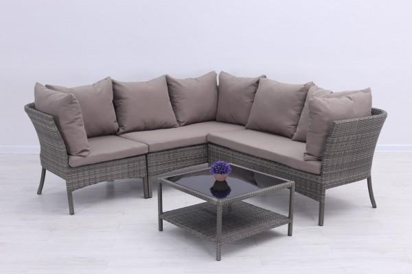 Almonda Polyrattan Ecklounge Gartenmöbel Sitzgruppe - Grau