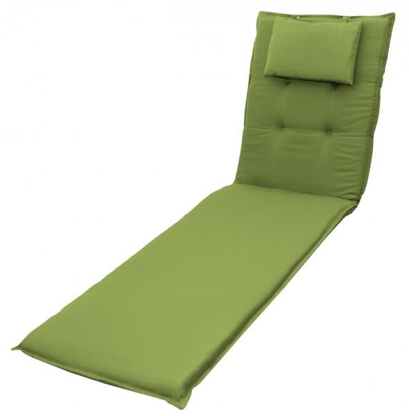 7836 Rollliegenauflage mit Kopfkissen Gartenliege 8cm grün uni