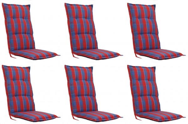 6x FLORENCE 2095 Hochlehner Gartenstuhl Auflagen 8cm rot blau