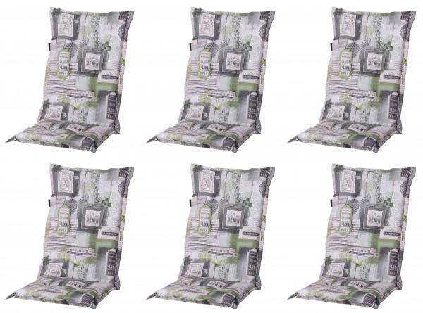 6x A022 Hochlehner Gartenstuhl Auflagen 120x50x8cm grau