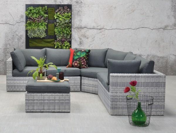 WIEN Polyrattan Alu Ecklounge Gartenmöbel Sitzgruppe grau