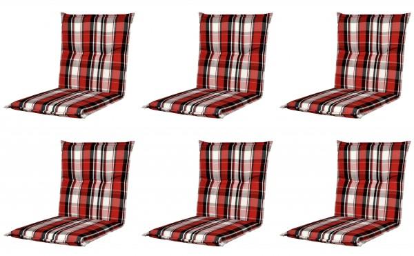 6x 5309 Niederlehner Gartenstuhl Auflage 7cm niedrig rot kariert