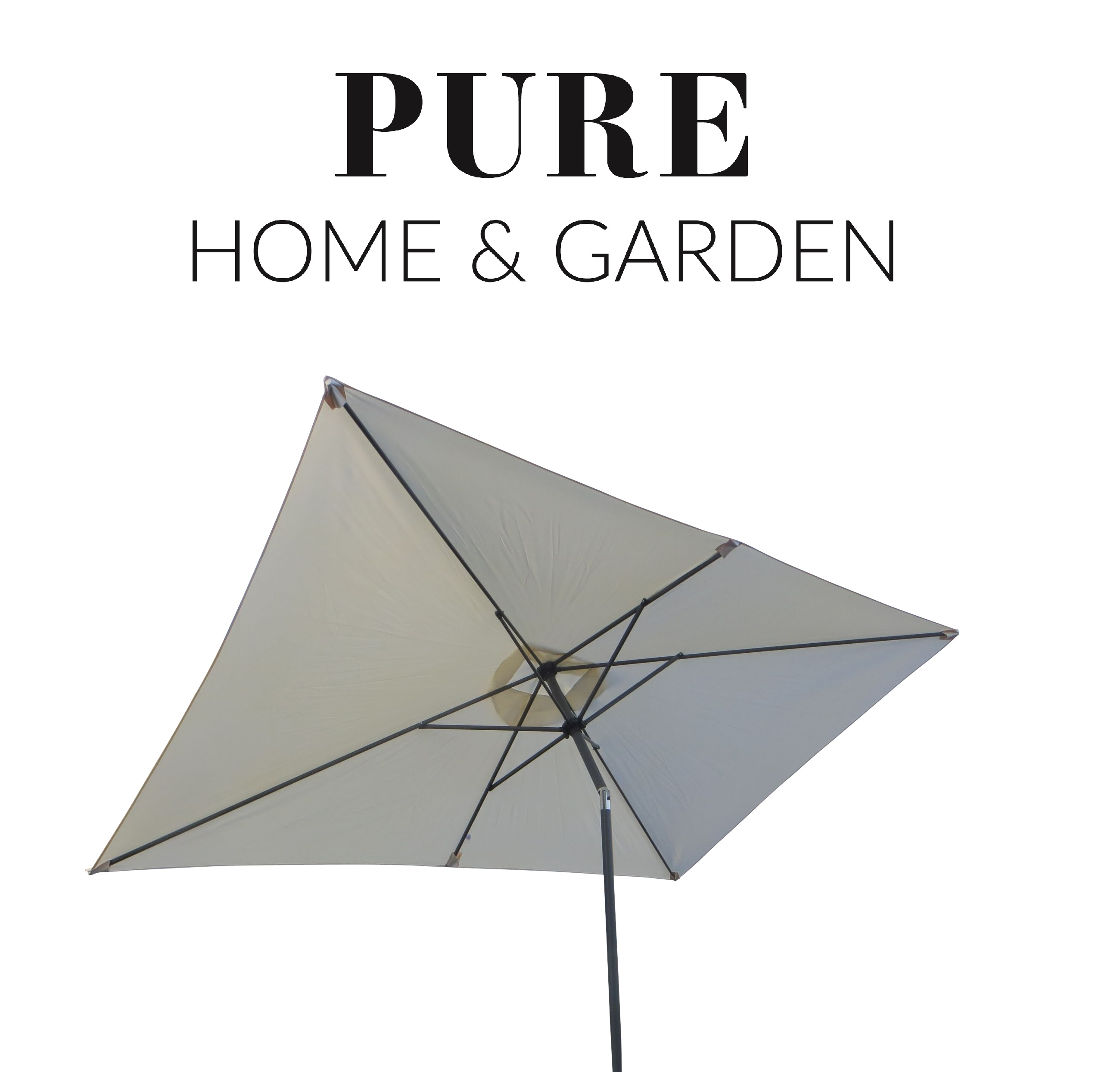 phg sonnenschirm 300x200cm kurbelschirm eckig natur sonnenschirme sonnenschutz garten. Black Bedroom Furniture Sets. Home Design Ideas
