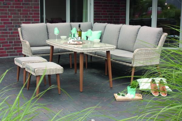 MONTICELLO Ecklounge Gartenmöbel Sitzgruppe Retro Holzoptik