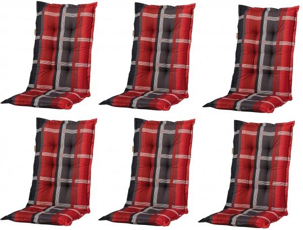 6x b253 hochlehner gartenstuhl auflagen 120x50x8cm rot kariert f r st hle mit hoher lehne. Black Bedroom Furniture Sets. Home Design Ideas