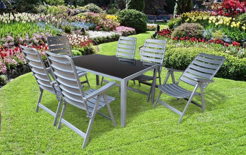 rio alu gartenm bel set sitzgarnitur 7 teilig silber gartenparty garten. Black Bedroom Furniture Sets. Home Design Ideas