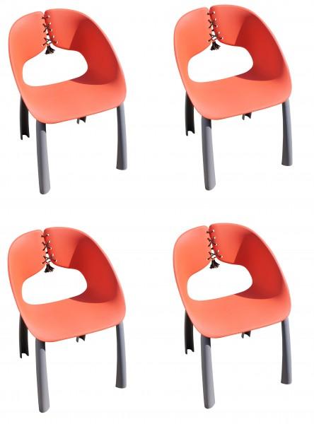 4x TRENDA Stapelsessel stylisch Sessel mit Schnüren grau / rot