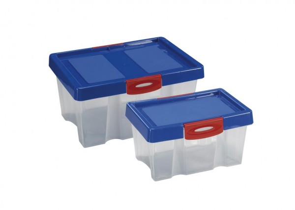 2er Set Stapelboxen Kunststoff Kiste mit Deckel Box