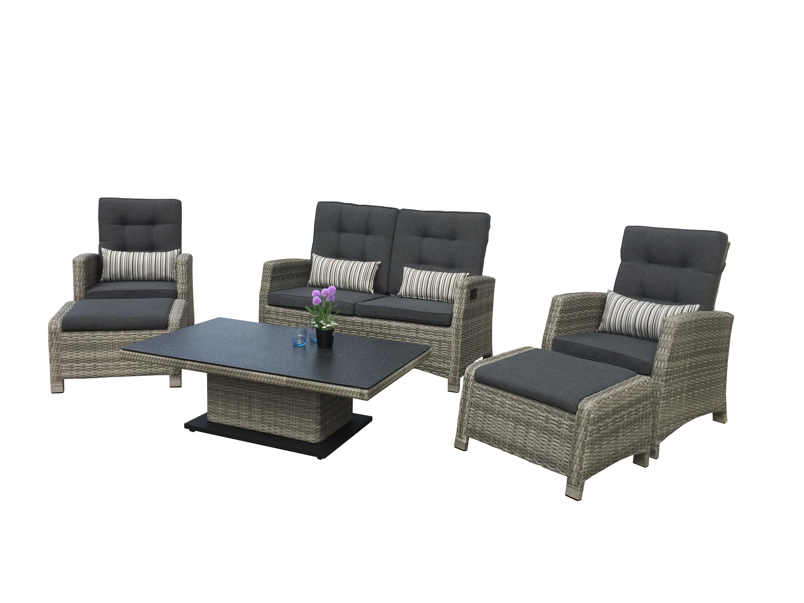 Larissa polyrattan lounge gartenm bel sitzgruppe grau for Lounge polyrattan gartenmobel