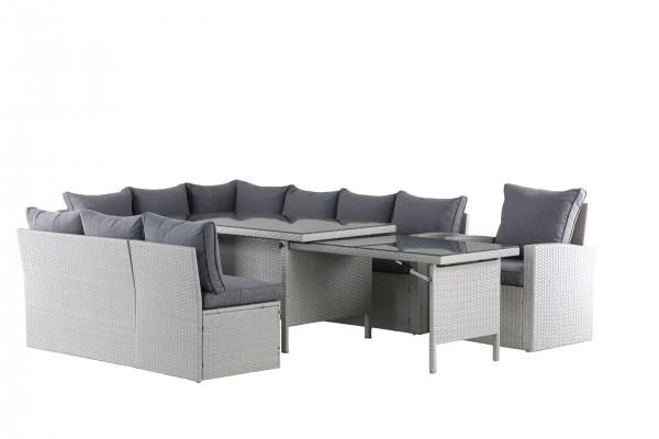 WOW XXL Polyrattan Ecklounge Gartenmöbel Sitzecke links grau