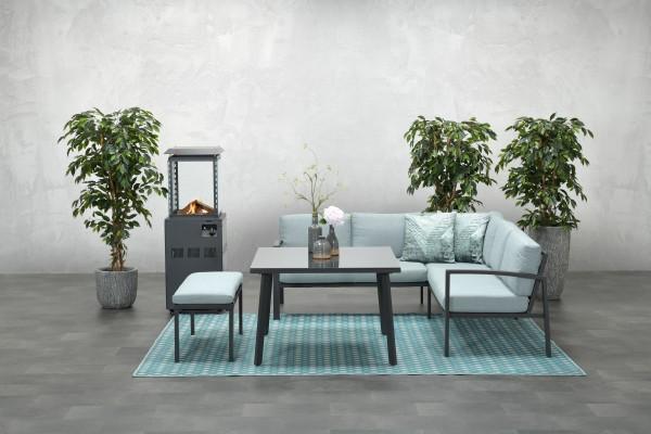 WELLINGTON Alu Ecklounge Gartenmöbel Gruppe carbon mint grey