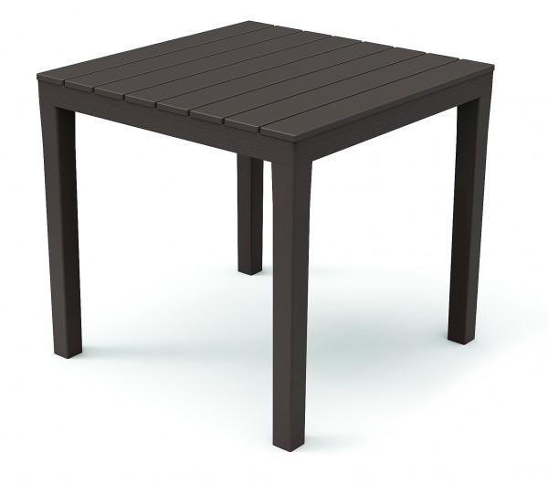 BALI Gartentisch 80x80cm Kunststoff in Holz-Optik - braun