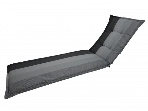 C404 Rollliegenauflage Gartenliege 200x65x8cm grau gestreift
