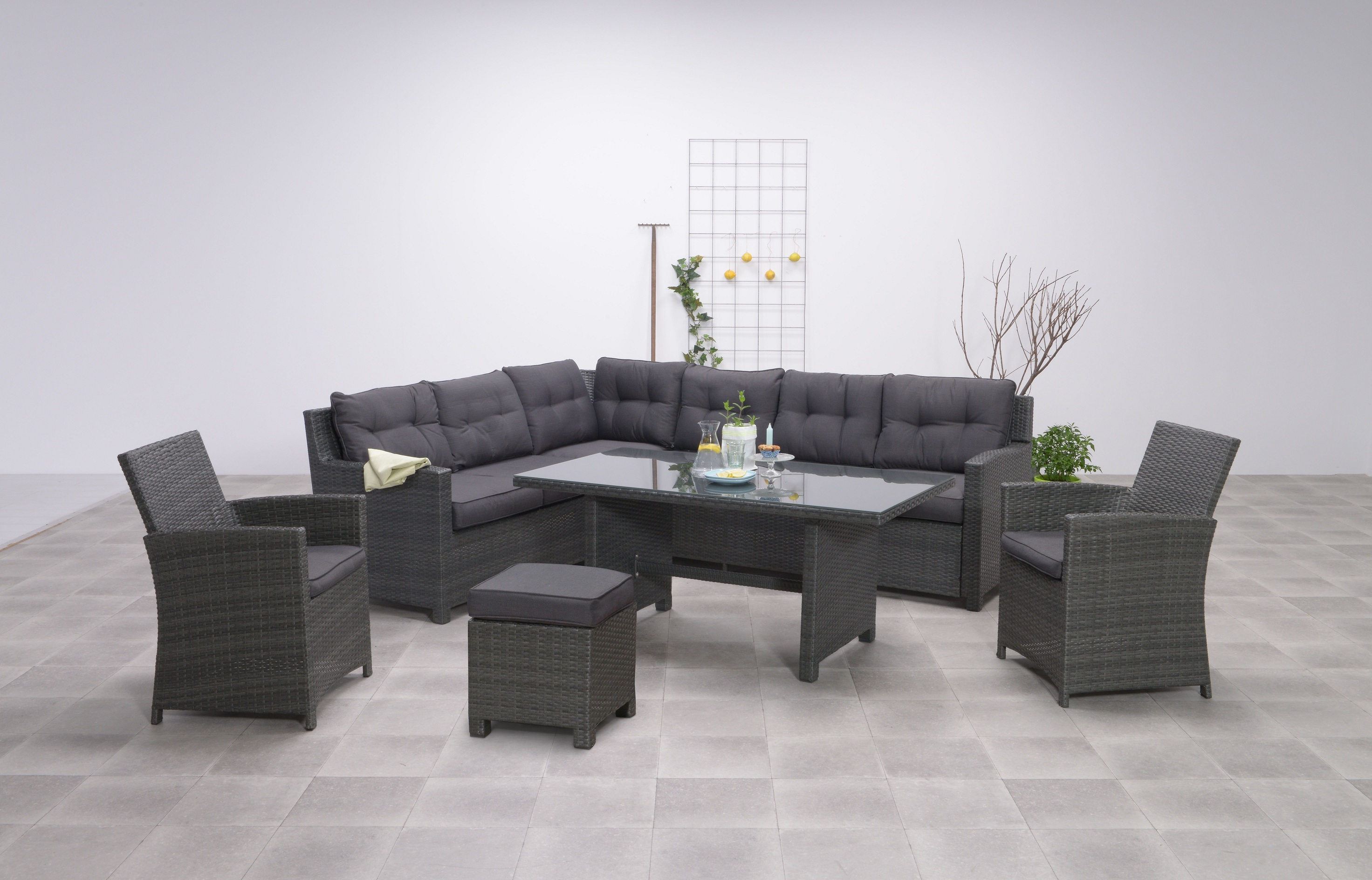 aboyne polyrattan ecklounge gartenm bel sitzgruppe grau lounge m bel garten. Black Bedroom Furniture Sets. Home Design Ideas