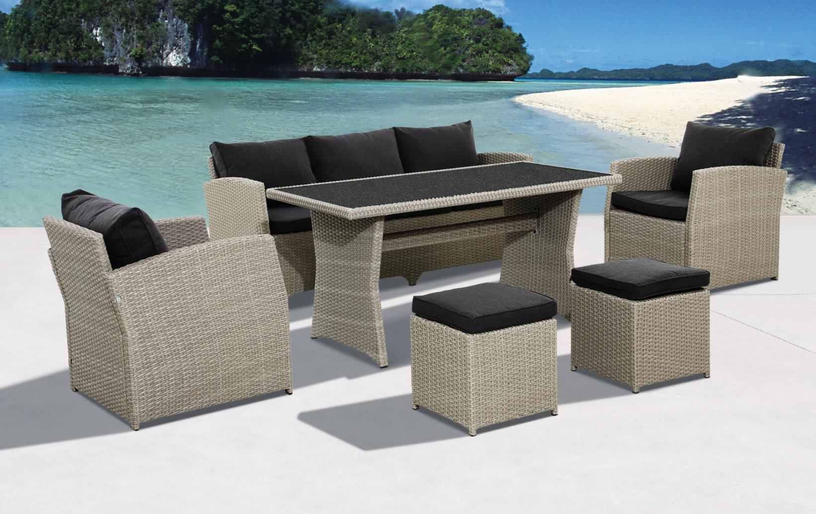 skyline polyrattan lounge gartenm bel sitzgruppe natur. Black Bedroom Furniture Sets. Home Design Ideas