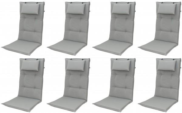 8x 9827 Hochlehner Gartenstuhl Auflagen 8cm Kopfkissen grau