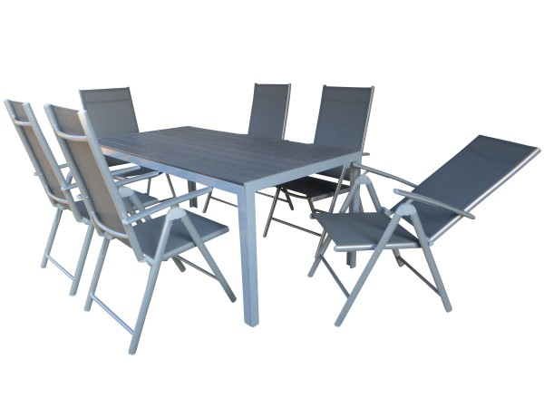 HOT XL Alu Gartenmöbel Set Sitzgarnitur, 7-teilig, silber / grau