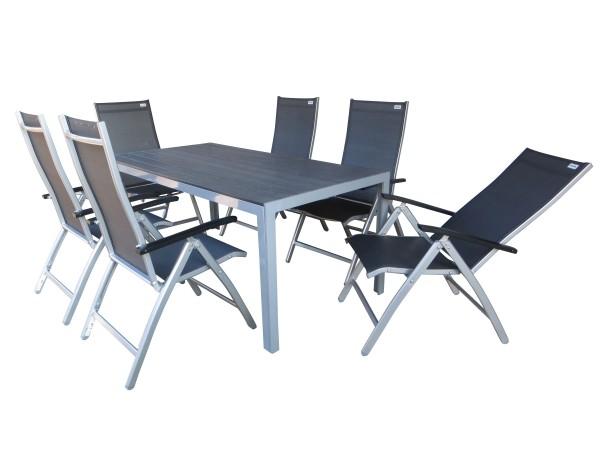 NATAL XL Alu Gartenmöbel Set Sitzgarnitur, 7-tlg, silber / grau