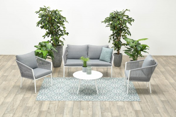 FLEURIE Rope Alu Lounge Set Gartenmöbel Sitzgruppe weiss