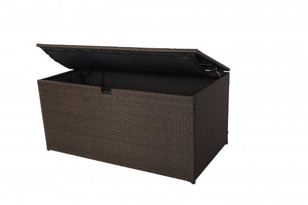 MILOS Polyrattan Auflagenbox Kissenbox braun 145x80x60cm