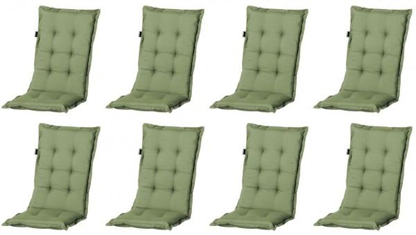 8x A044 Hochlehner Gartenstuhl Auflagen 120x50x8cm grün uni