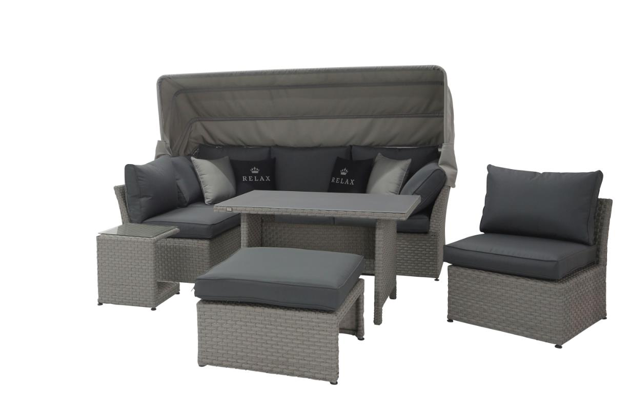 relax ecklounge polyrattan garten lounge set mit dach grau lounge m bel garten gartenm bel. Black Bedroom Furniture Sets. Home Design Ideas