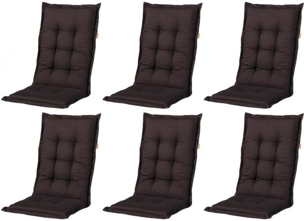 6x A052 Hochlehner Gartenstuhl Auflagen 120x50x8cm schwarz uni