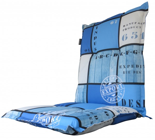A033 Niederlehner Gartenstuhl Auflagen 105x50x8cm blau kariert