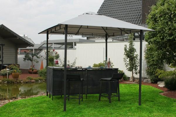 Pavillon Set 245x245cm Pavillion mit Theke und Hockern - grau