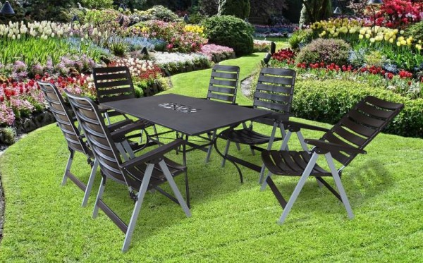rom gartenm bel set sitzgarnitur 7 teilig silber braun gartenm bel gruppen garten. Black Bedroom Furniture Sets. Home Design Ideas